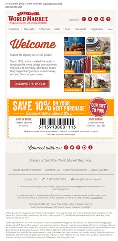 World Market - Welcome. Subject line: Welcome. Here's 10% off to start your unique shopping adventure.