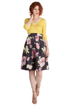 Painted Perfection Skirt. Let this floral skirt inspire your next work of art! #gold #prom #modcloth