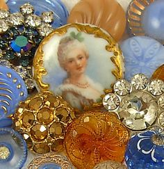 Vintage Blue and Gold Glass Rhinestone Porcelain Buttons . cgi.ebay.com