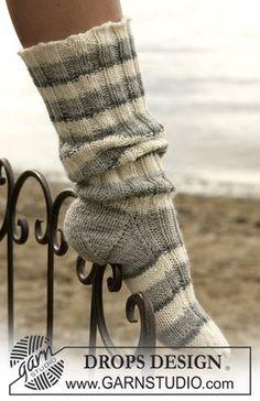 Socks & Slippers – Free knitting patterns and crochet patterns by DROPS Design – Knitting Socks Knitting Patterns Free, Free Knitting, Knitting Socks, Free Pattern, Crochet Patterns, Knit Socks, Drops Design, Drops Karisma, Magazine Drops