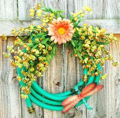 Love this! Dragonfly Garden Hose Wreath