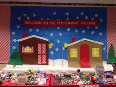 Peppermint village christmas store wall