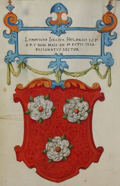 Matriculation Register of the Rectorate of the University of Basel, High Middle Ages, Family Crest, Floral Border, English Roses, Crests, Used Books, Coat Of Arms, Book Illustration, Designs To Draw