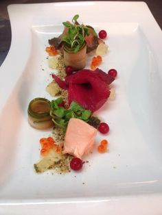 salmon gravelax, beetroot salmon , smoked salmon with cavia and pickled cucmber