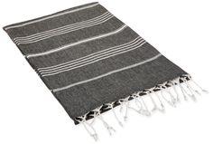 "Amazon.com - Cacala 100% Cotton Pestemal Turkish Bath Towel, 37 x 70"", Black - Bath Towels"