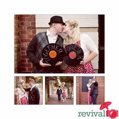 1950's style engagement session  photos by Revival Photography  www.revivalphotography.com  Jason + Heather Barr  Davidson, North Carolina
