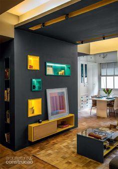 Apartamento de 85 m² brinca com tons de azul, amarelo e cinza - Casa - http://www.homedecoz.com/home-decor/apartamento-de-85-m%c2%b2-brinca-com-tons-de-azul-amarelo-e-cinza-casa/
