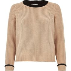 River Island Nude and black knit cropped jumper ($37) ❤ liked on Polyvore featuring tops, sweaters, cream, knitwear, long sleeve crop top, cropped knit sweater, crewneck sweaters, long sleeve tops and long sleeve knit sweater