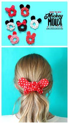 Mickey Mouse ears scrunchie - A girl and a glue gun