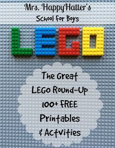 Over 100 Free Lego themed Educational Printables and Activities! HappyHatter's School For Boys: Bringing learning to life for boys! Lego Activities, Fun Activities For Kids, Kids Math, Steam Activities, Kids Fun, Legos, Lego Math, Lego Challenge, Free Lego