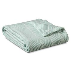 Threshold™ Fashion Woven Pattern Cotton Blanket - Natural White/Turquoise (King)