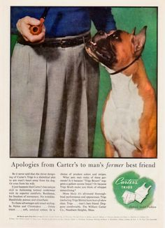 1954 Carter's Underwear featuring fawn Boxer dog