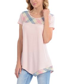 Look at this Lady Monkey Blush Plaid-Accent Asymmetrical-Hem Tee on #zulily today!