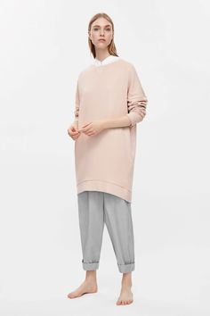 COS image 7 of Boxy sweatshirt dress in Peach                                                                                                                                                                                 More