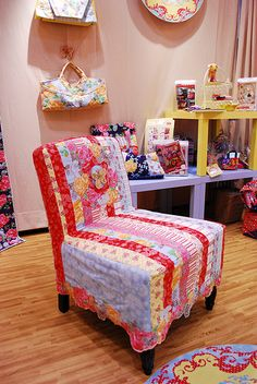 pretty patchwork striped chair cover.....would like to have this on my sewing chair. ((Drool))