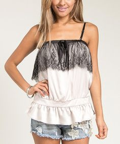 Look what I found on #zulily! Beige & Black Lace Blouson Top by Buy in America #zulilyfinds