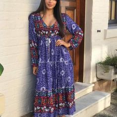 Delilah Midi Dress - Blue Blue Dresses, Dresses With Sleeves, Boho Midi Dress, Long Sleeve, Fashion, Moda, Gowns With Sleeves, Fashion Styles, Fasion