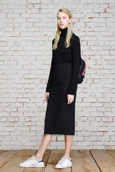 Elizabeth and James Pre-Fall 2015 -- turtleneck, backpack, skirt & sneakers #style #fashion
