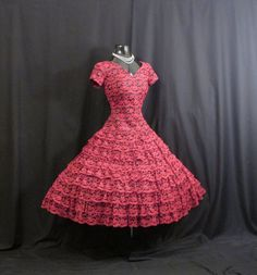 Vintage 1950's 50s Bombshell Tiered Red Black by VintageVortex