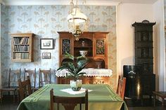 Norwegian dining room - 1905: Very pretty. I like the wall-mounted bookshelf. Is that a stove on the right?
