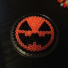 Halloween pumpkin perler bead coaster by beardiewiththebeard