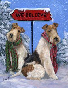 Fox Terriers: We Believe -- by Suzanne Renaud -- American) Chien Fox Terrier, Wirehaired Fox Terrier, Wire Haired Terrier, Wire Fox Terrier, Christmas Puppy, Christmas Cats, Christmas Scenes, Christmas Pictures, Christmas Greetings