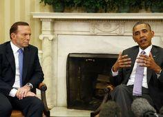 Barack Obama, presidente de EEUU, junto a Tony Abbot primer ministro de Australia, en el Despacho Oval de la Casa Blanca.