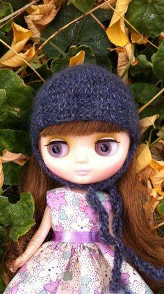 Purple/Grey Hand Knit Middie Blythe helmet. via Etsy