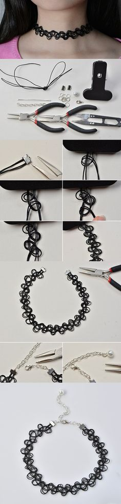 Making Simple Handmade Stretchy Tattoo Choker Necklace