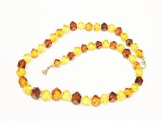 Cube Amber Beads knotted on Silk Graduated Necklace Strand is 18 Inches