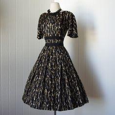 09c0db3a1f Vintage 1950s dress ...quintessential fifties leopard print full skirt  rockabilly pin-up dress with bolero