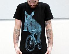 Men's RHINOCEROS T Shirt american apparel S M L XL (Custom Colors Available) on Etsy, $21.00