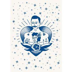 Poster Tattoo man #tattoo #man #sailor #marin #vintage #retro #tatouage #oldschool #anchor #flower #poster