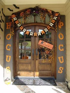 Halloween decorations - front entry door with cute hocus locus theme, sweet, cute, kid friendly.