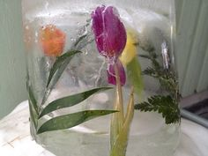 Ice lantern with flowers