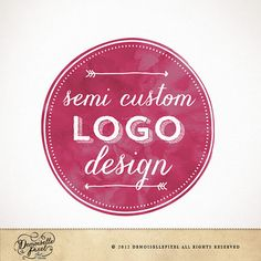 Semi Custom Logo Design Hand Drawn Ooak for Photographer Photography Studio Boutique Small Business