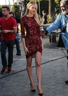 Bodycon Dresses glamhere.com Candice Swanepoel wearing Burgundy Lace Bodycon Dress Burgundy Leather Pumps