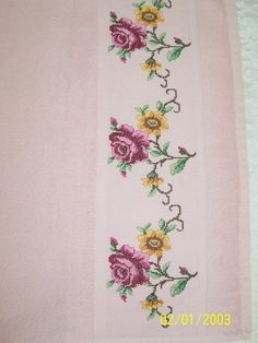 This Pin was discovered by Sab Cross Stitch Borders, Cross Stitch Designs, Cross Stitching, Cross Stitch Patterns, Baby Dress Patterns, Baby Knitting Patterns, Bordado Floral, Floral Border, Bargello