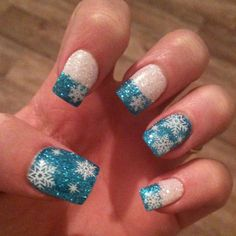 blue glitter snowflake nails. great for christmas or just winter in general