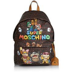 Moschino Shoulder Bags, Super Backpack Brown Reisetasche (€620) ❤ liked on Polyvore featuring bags, backpacks, brown, brown shoulder bag, shoulder hand bags, print backpacks, handbags shoulder bags and backpacks bags