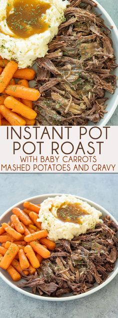 Instant Pot Pot Roast - Kids Instant Pot Recipes - tant Pot Pot Roast makes having a tender and juicy roast so easy! Mashed potatoes, carrots, and a mouthwatering gravy are made in the very same pot! Pot Roast Recipes, Beef Recipes, Cooking Recipes, Recipies, Cooking Cake, Cooking Fish, Game Recipes, Sausage Recipes, Thai Recipes