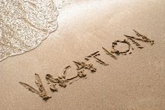 Vacation spelled out in the sand - Avoya Travel Google+