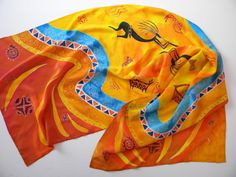 Birthday gift for mom Silk scarf Hand painted silk African motifs Handpainted silk shawl Batik Women's scarves Orange scarf Summer scarf