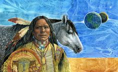 GHOST by Geraldine Aikman - Matted Fine Art Print, Native American and a Mustang Named Ghost Native American Indians, Native Americans, Stock Art, Gouache Painting, Mustang, Nativity, Fine Art Prints, Original Art, Art Gallery