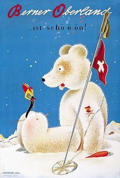 Berner Oberland - 1945 - (Barberis Franco) - vintage Swiss ski poster with polar bear.