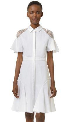 Prabal Gurung Платье-рубашка с кружевными плечами
