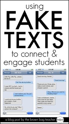 Use fake texts to teach and connect with students. Fun!