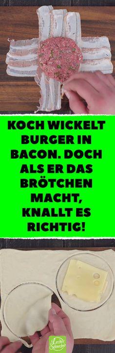 Koch wickelt Burger in Bacon. Doch als er das Brötchen macht, knallt es richtig! Nicht der Bacon ist der Clou von diesem leckeren Burger. #rezepte #burger #hamburger #brötchen #pizzateig #käse #bacon