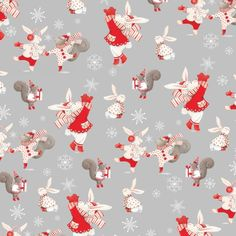 Joy Love Peace Christmas Holiday Fabric Dancing Rabbits and Squirrels Snowy Forest Winter Celebration on Gray StudioE