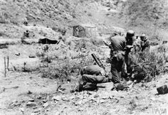 THE KOREAN WAR 1950 - 1953 The Mortar Platoon, Weapons Company, Netherlands Battalion, 2nd US Infantry Division, fires on the enemy positions with 81mm mortars.